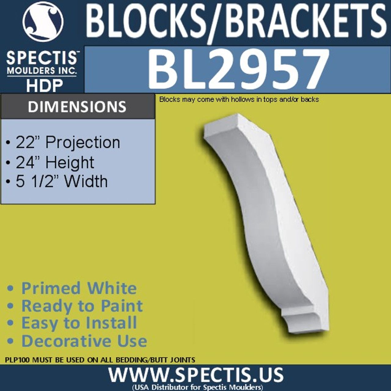 "BL2957 Eave Block or Bracket 5.5""W x 24""H x 22"" P"