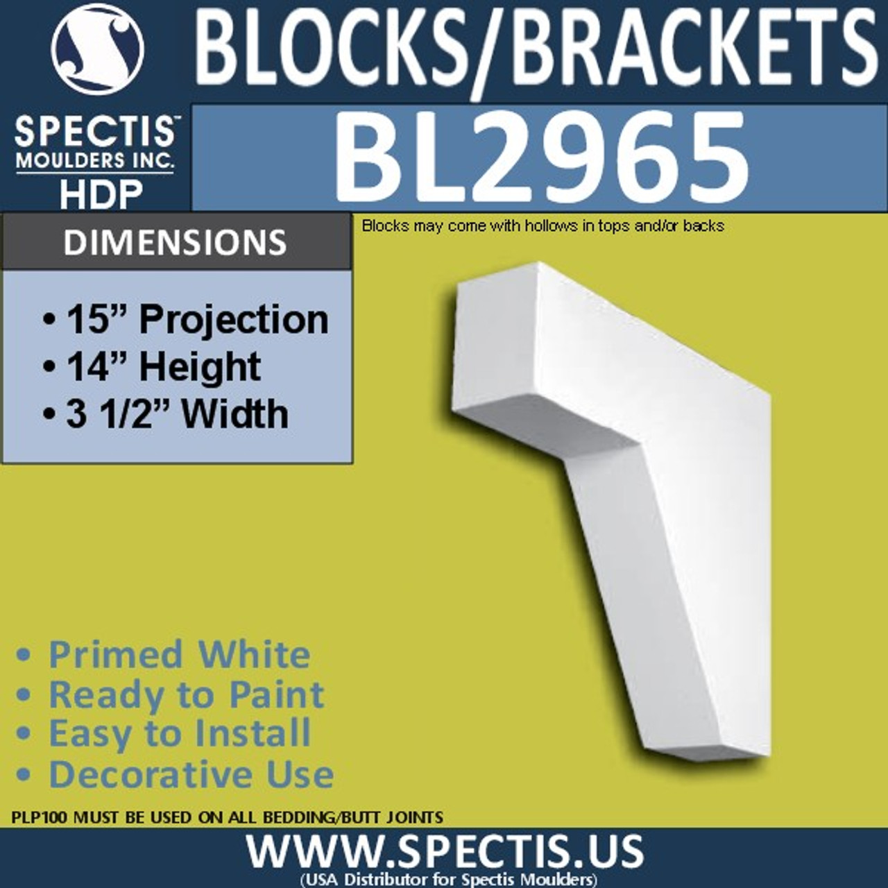 "BL2965 Eave Block or Bracket 3.5""W x 14""H x 15"" P"