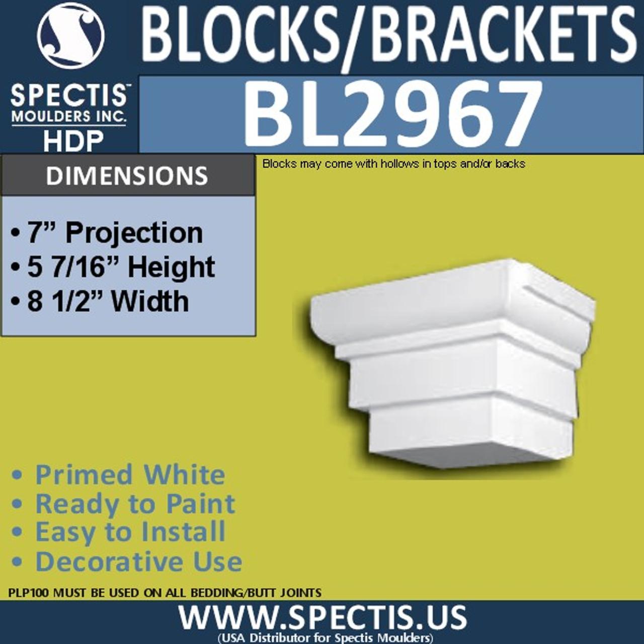 "BL2967 Eave Block or Bracket 8.5""W x 5.5""H x 7"" P"