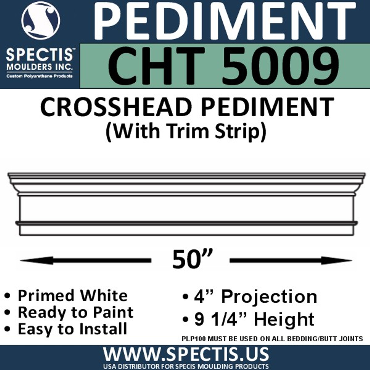 "CHT5009 Crosshead with Trim Strip 50"" W x 9 1/4"" H"