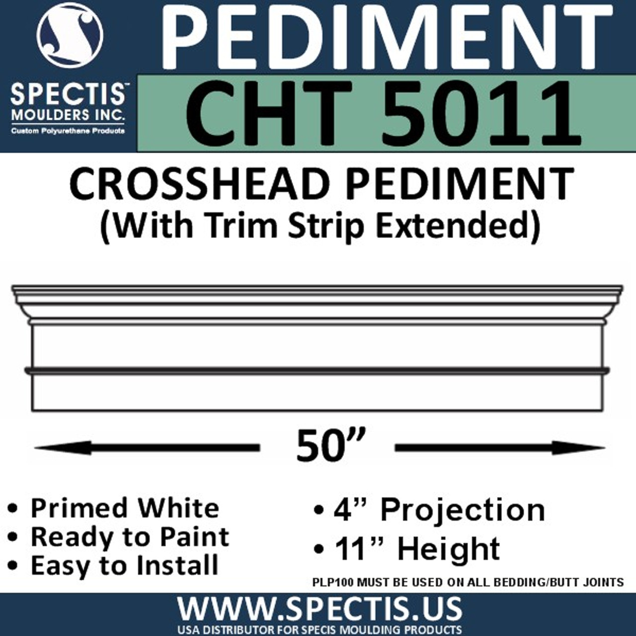 "CHT5011 Crosshead with Trim Strip Extended 50"" W x 11"" H"