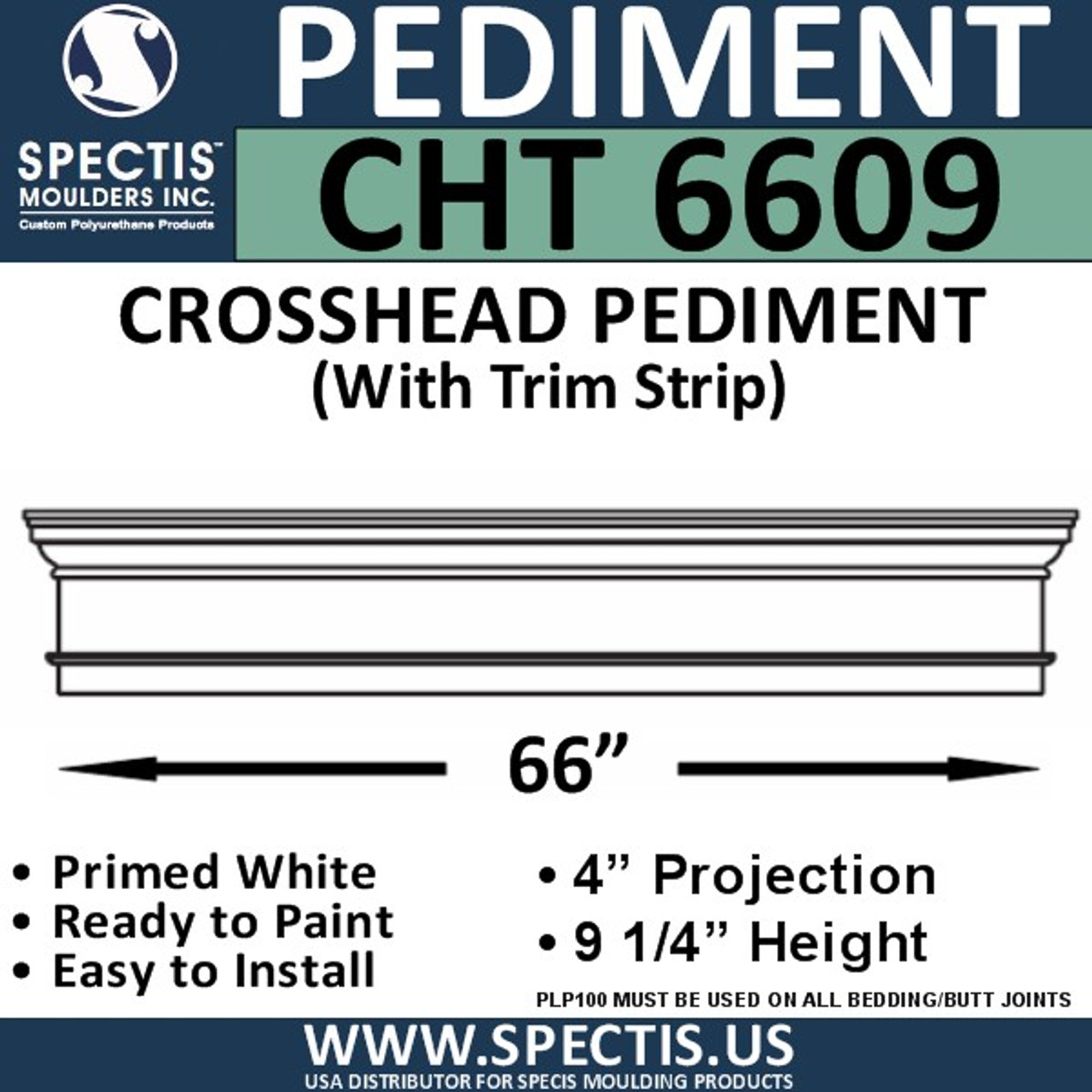 "CHT6609 Crosshead with Trim Strip 66"" X 9 1/4"""