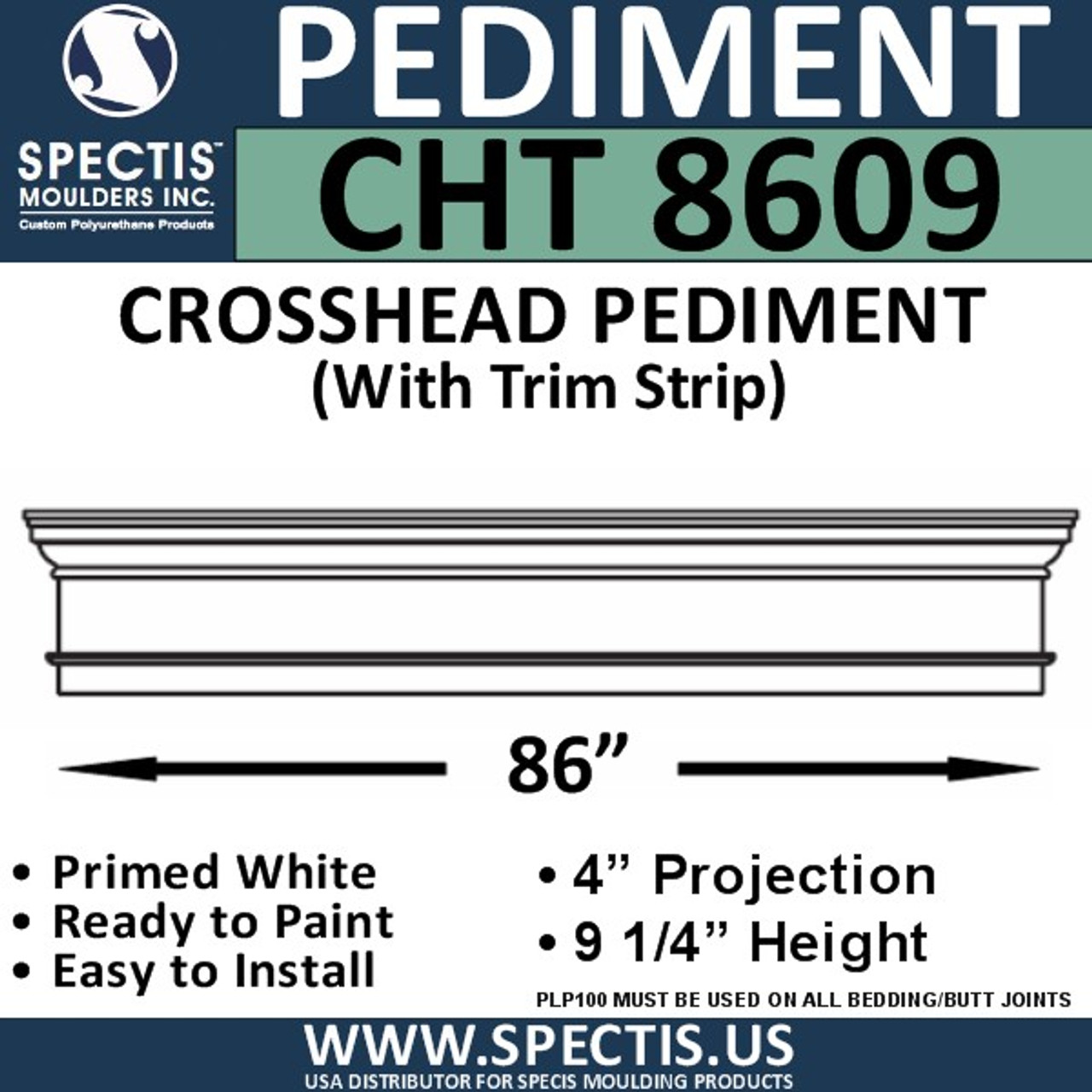 "CHT8609 Crosshead with Trim Strip 86 3/4"" X 9 1/4"""
