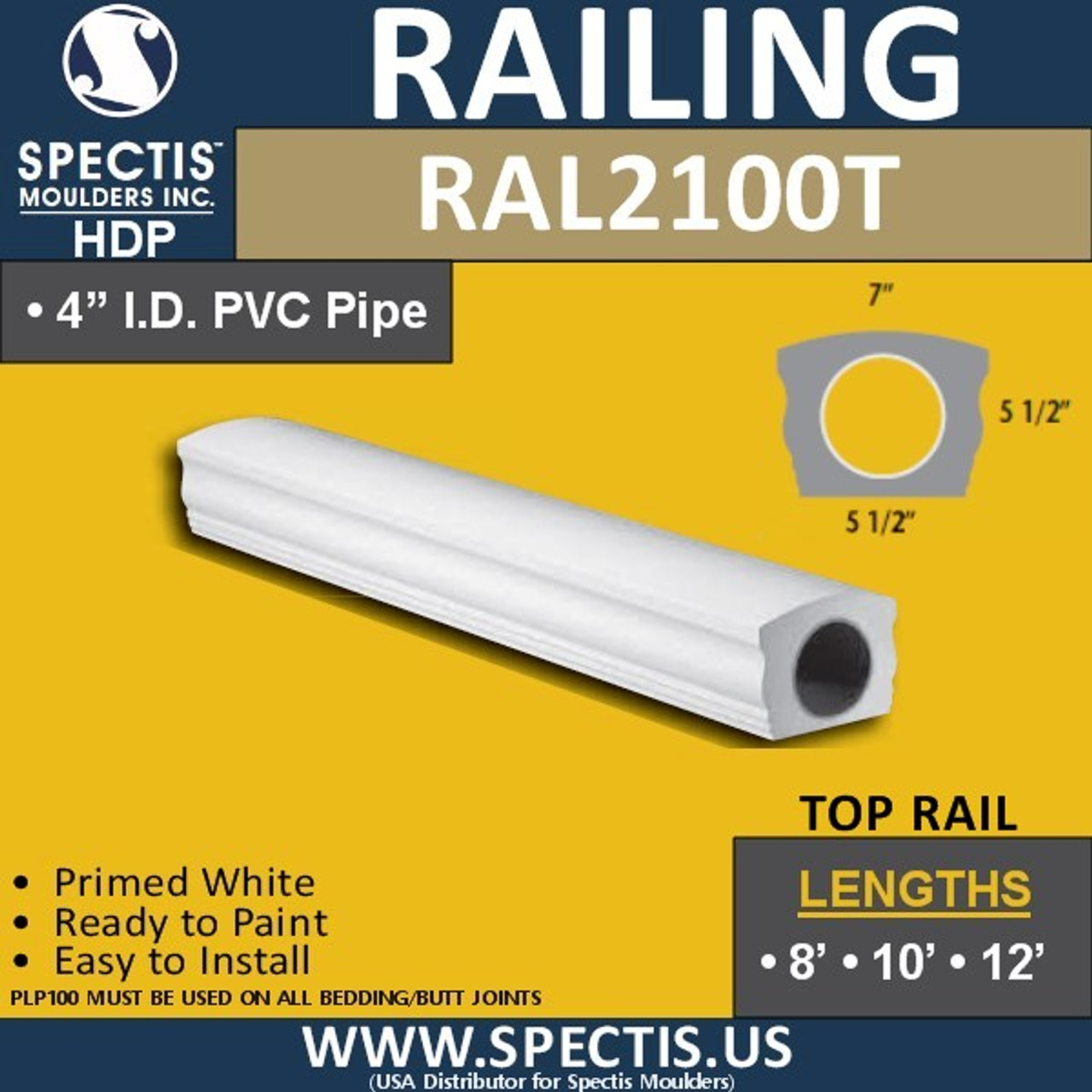 "RAL2100T Smooth Finish 5 1/2""W Top Handrail in 8'-10'-12'"