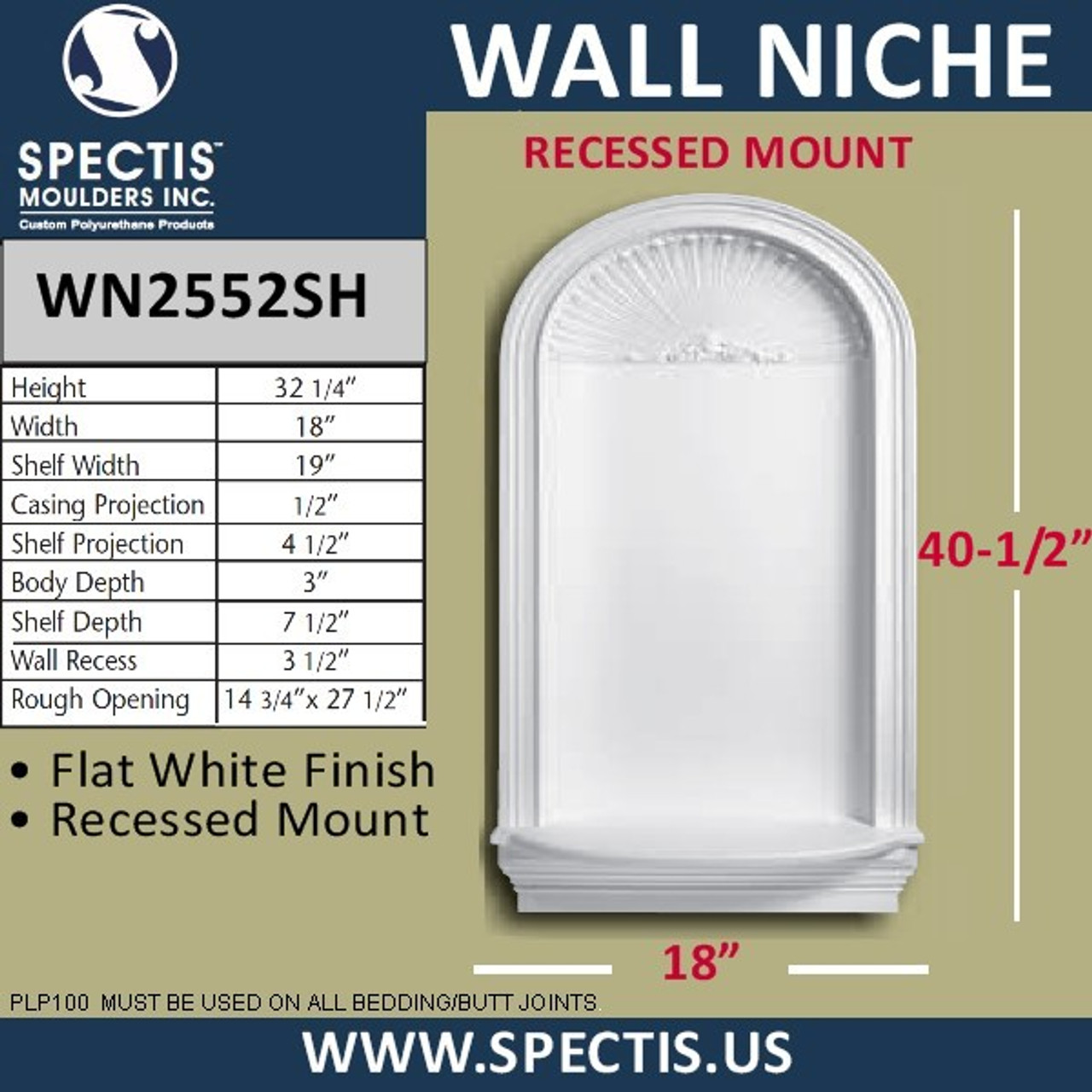 "WN2552SH In-Wall Niche with Shell Top 18"" x 32 1/4"""