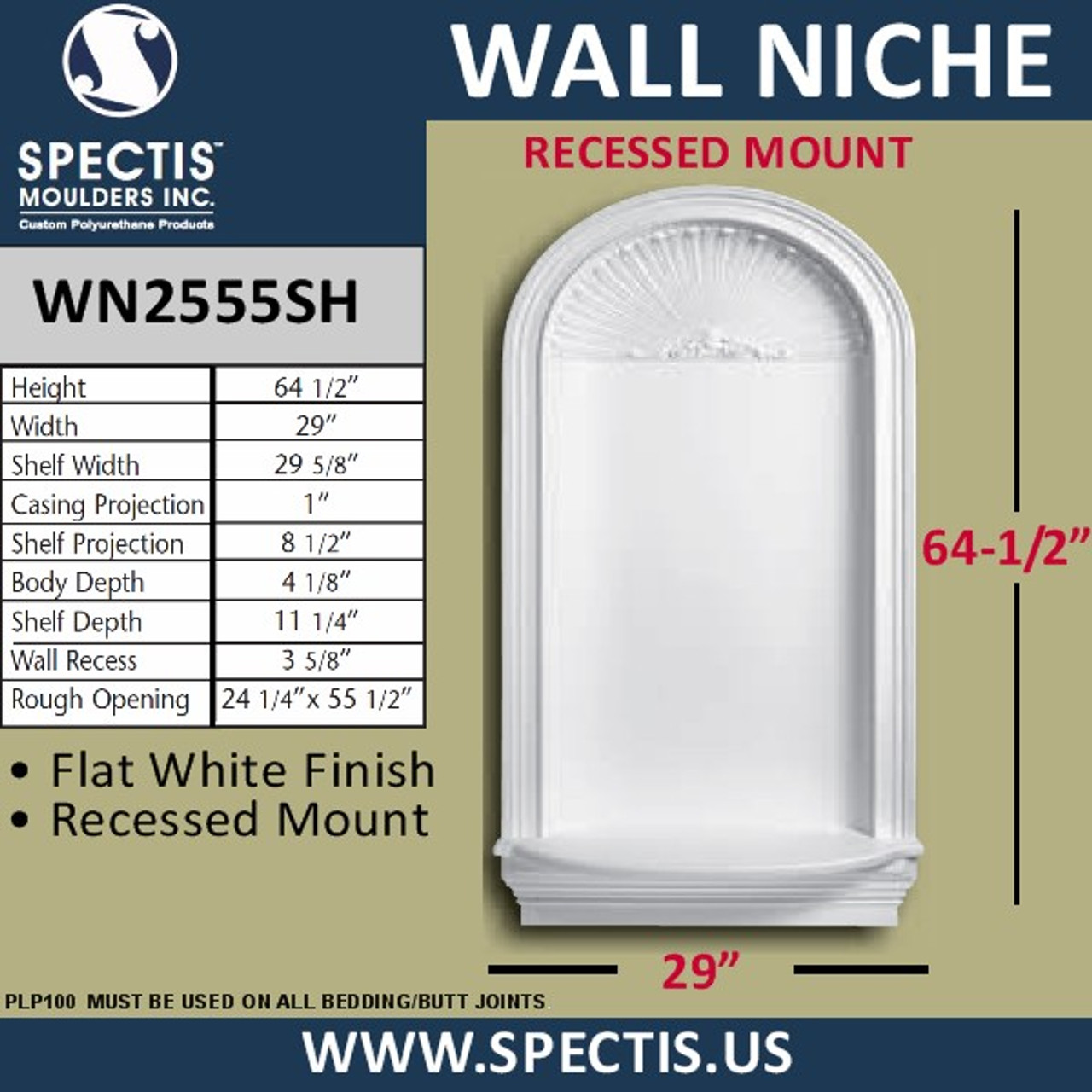 "WN2555SH In-Wall Niche Flat White Finish with Shell Top 29"" x 64 1/2"""