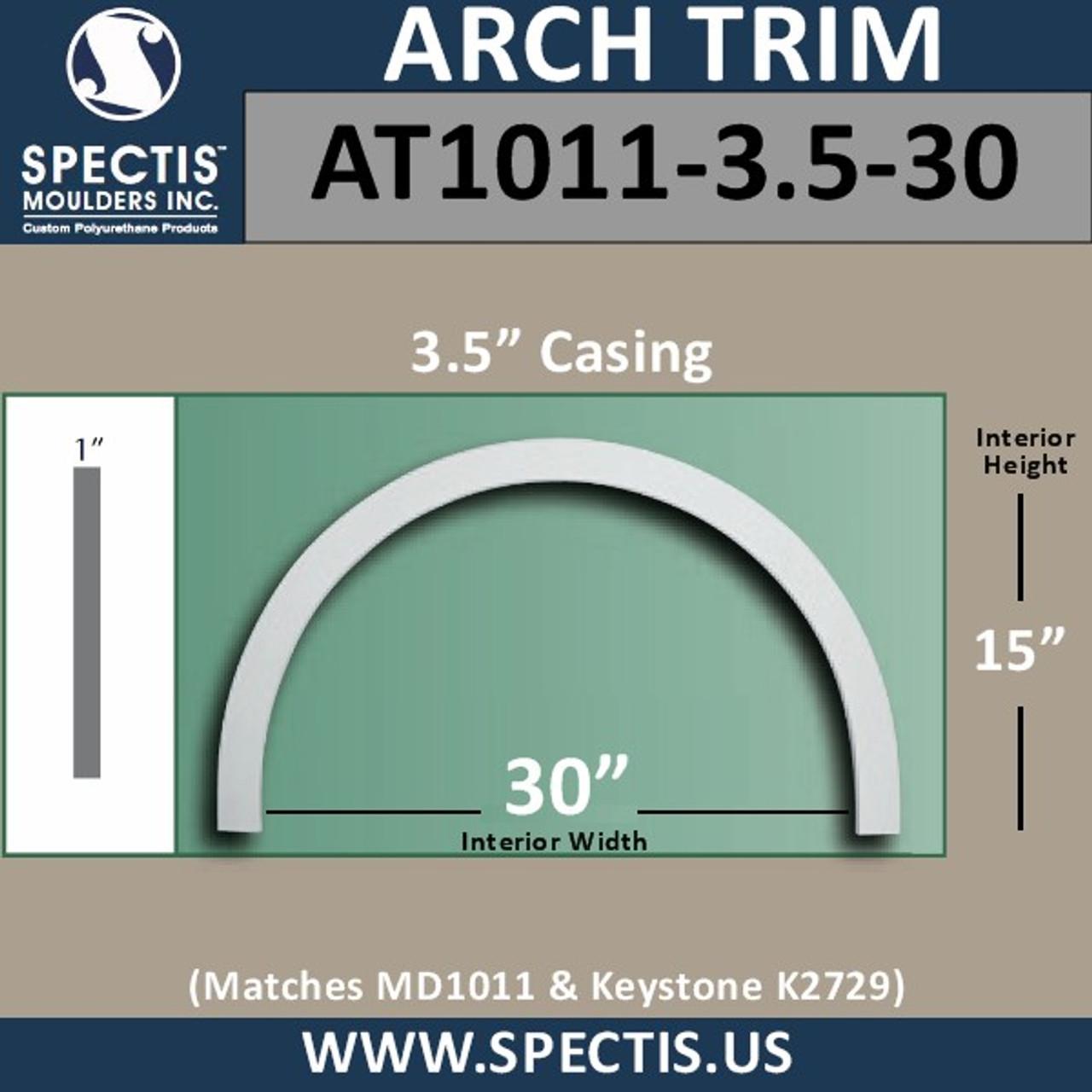 "AT1011-3.5-30 Flat Trim Urethane Door or Window Arch 30"" ID"