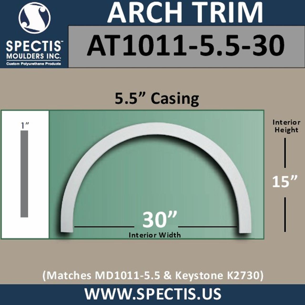 "AT1011-5.5-30 Flat Trim Urethane Door/Window Arch 5.5"" x 30"" ID"