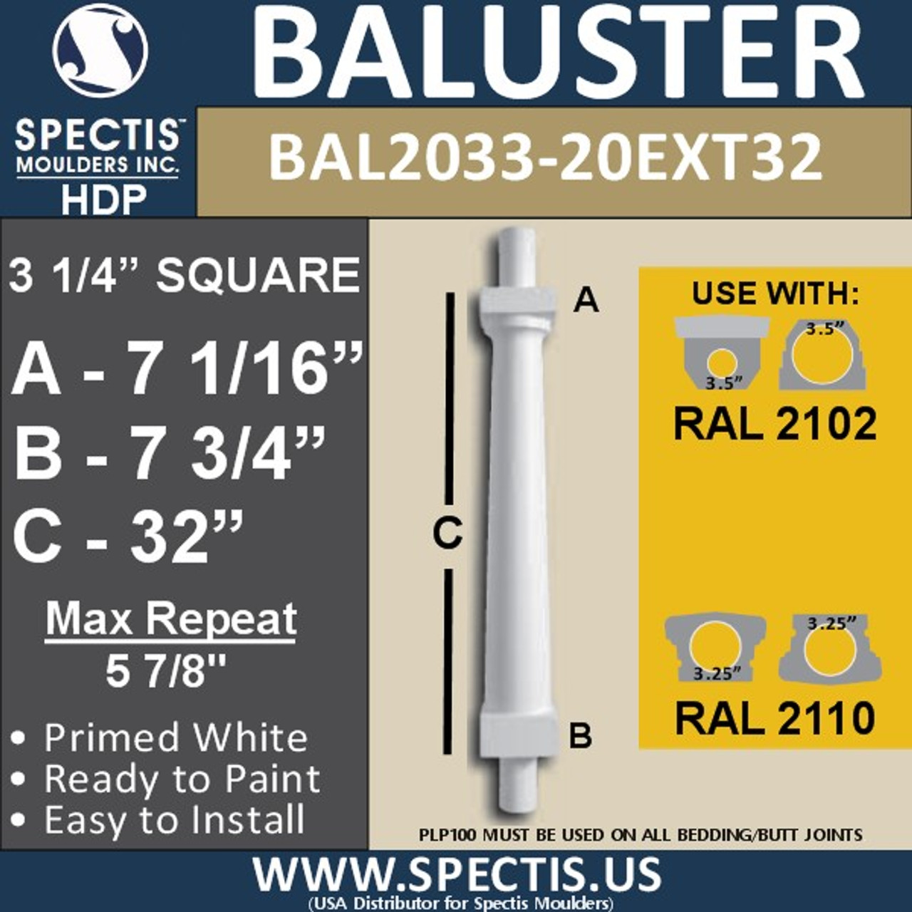 "BAL2033-20EXT32 Smooth Tapered Baluster 3 1/4"" x 32"""