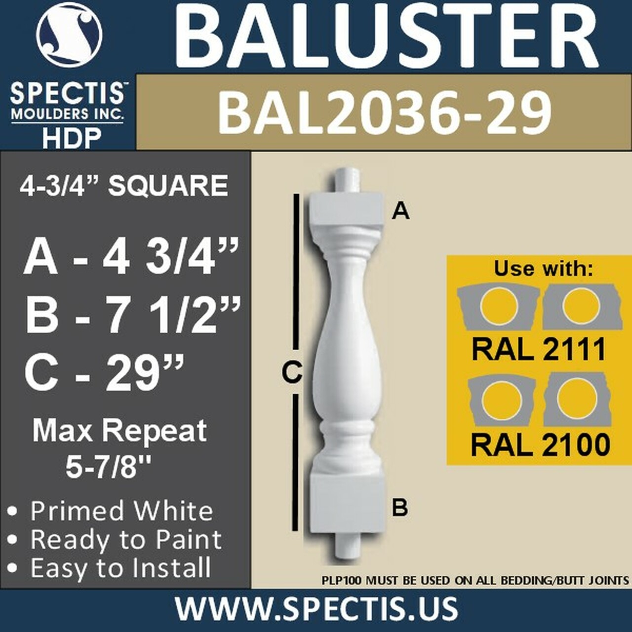 "BAL2036-29 Spectis Baluster or Spindle 4 3/4"" x 22"""