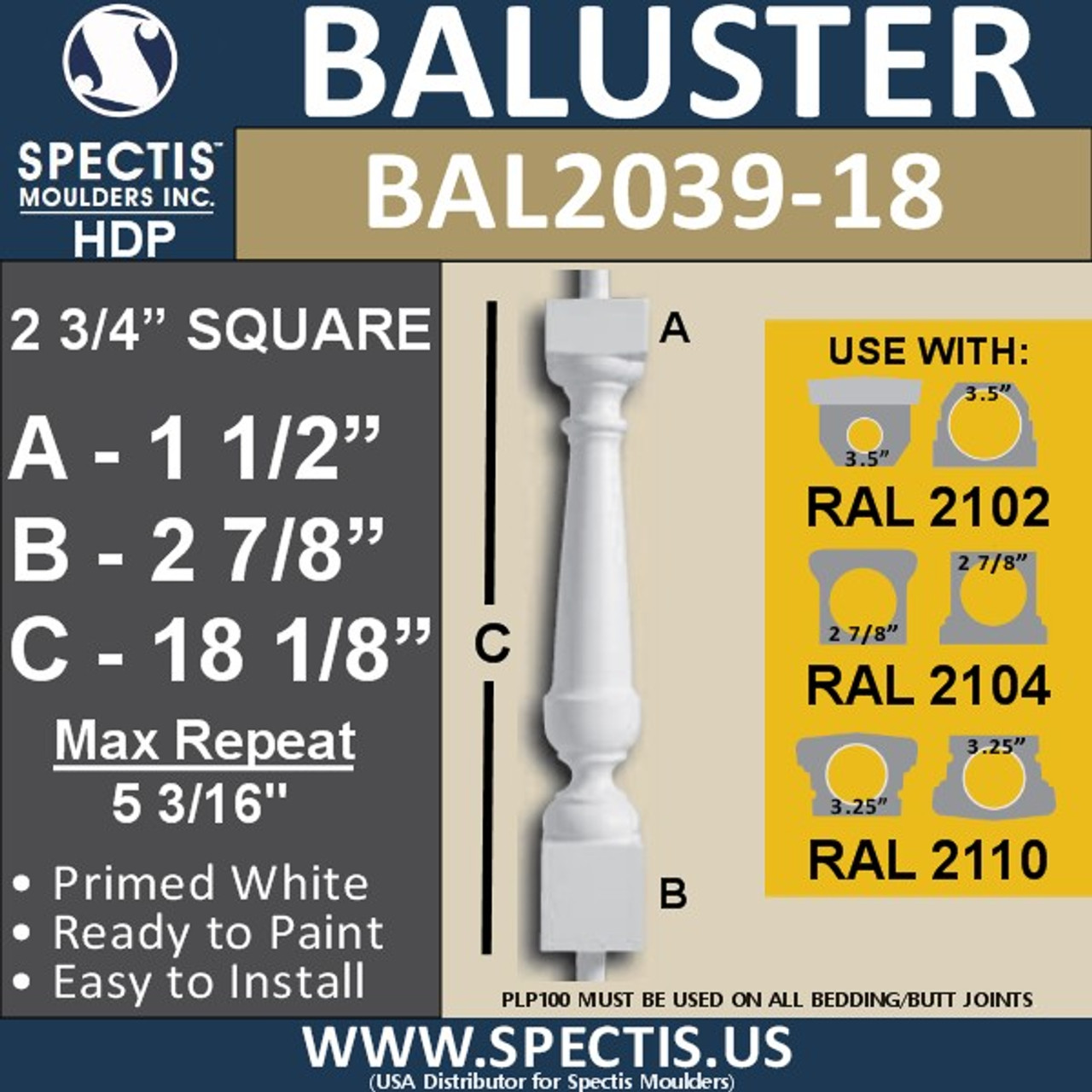 """BAL2039-18 Spectis Baluster or Spindle 2 3/4"""" x 18 1/8"""""""