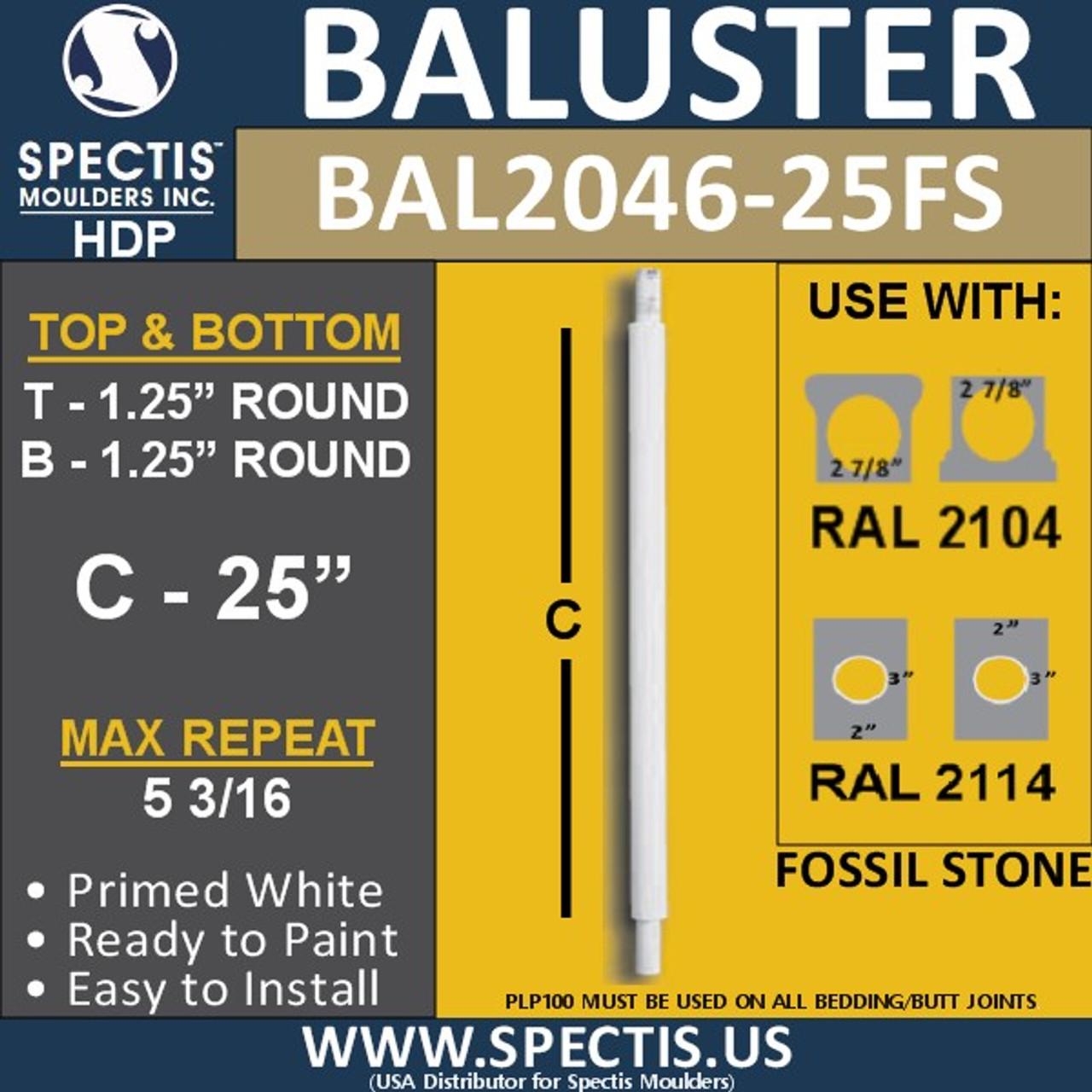 "BAL2046-25FS Fossil Stone Round Baluster 1 1/4"" x 25"""