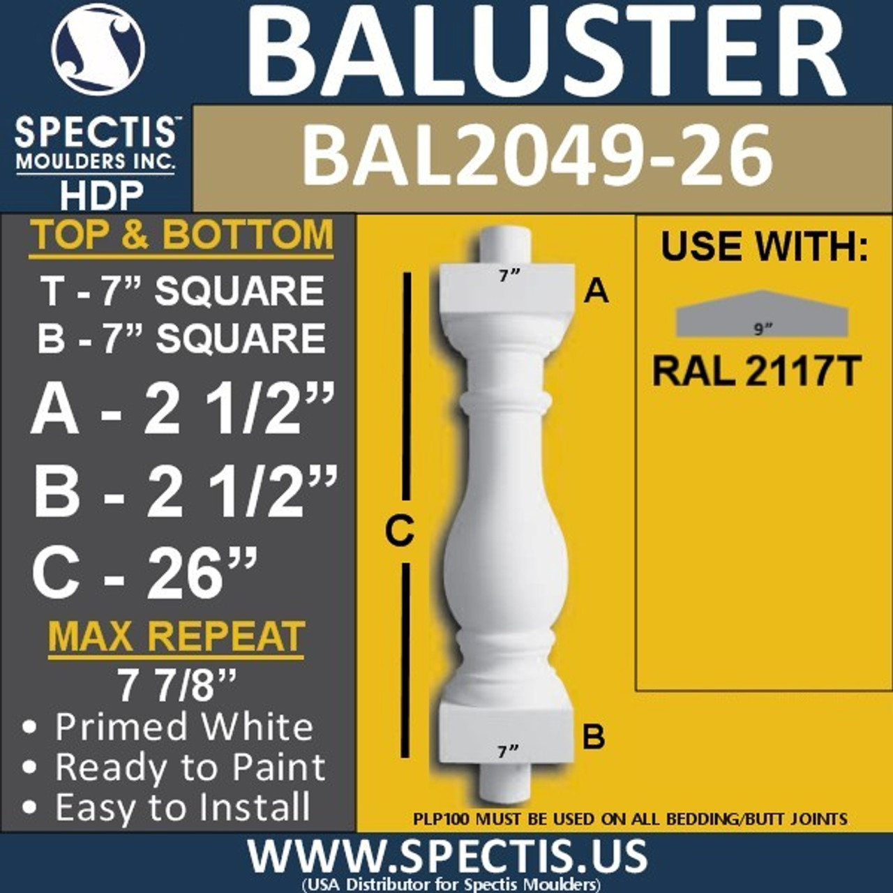 "BAL2049-26 Large Urethane Baluster or Spindle 7"" x 26"""