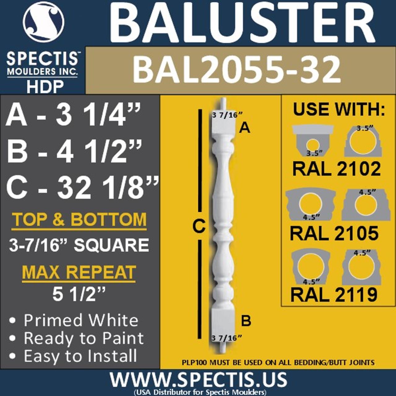 "BAL2055-32 Spectis Urethane Railing Baluster 3 7/16"" x 32 1/8"""