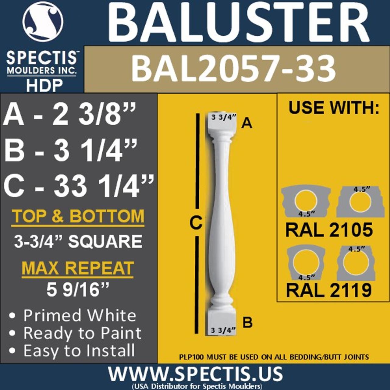 "BAL2057-33 Spectis Urethane Railing Baluster 3 3/4"" x 33 1/4"""