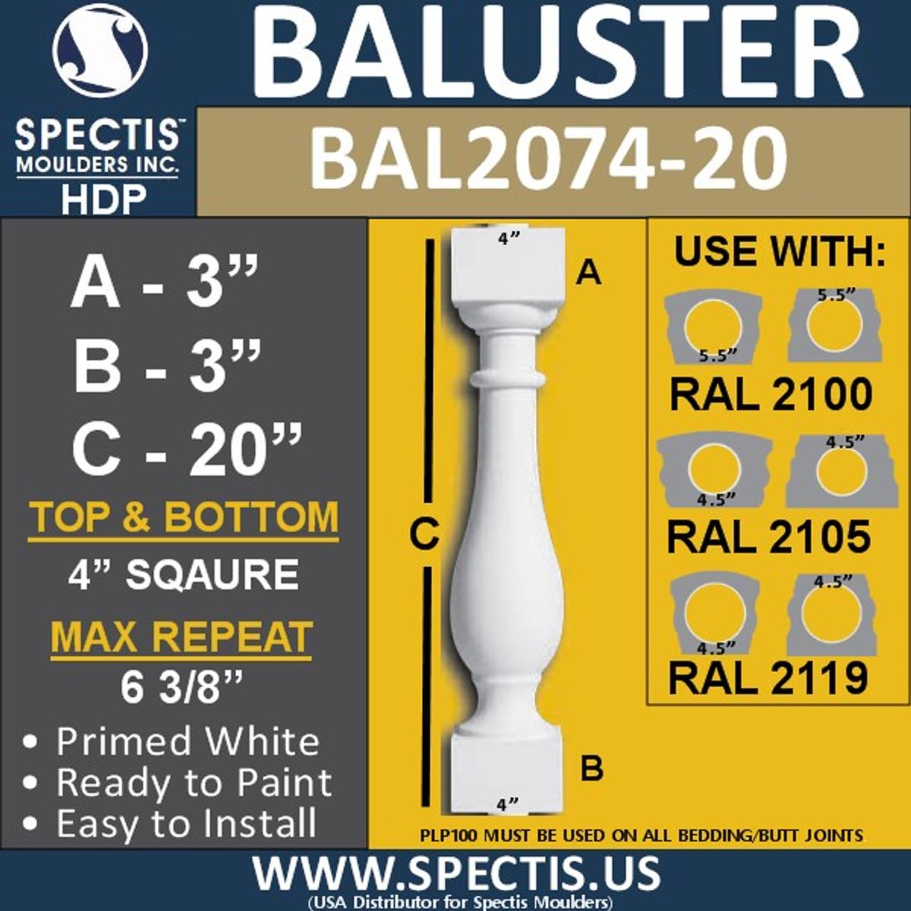 "BAL2074-20 Spectis Urethane Railing Baluster 4"" x 20"""