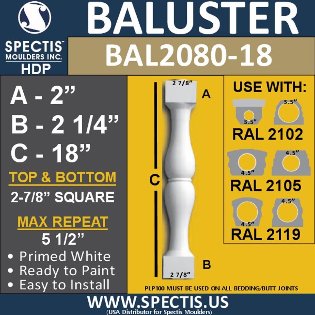 "BAL2080-18 Spectis Urethane Railing Baluster 2 7/8"" x 18"""