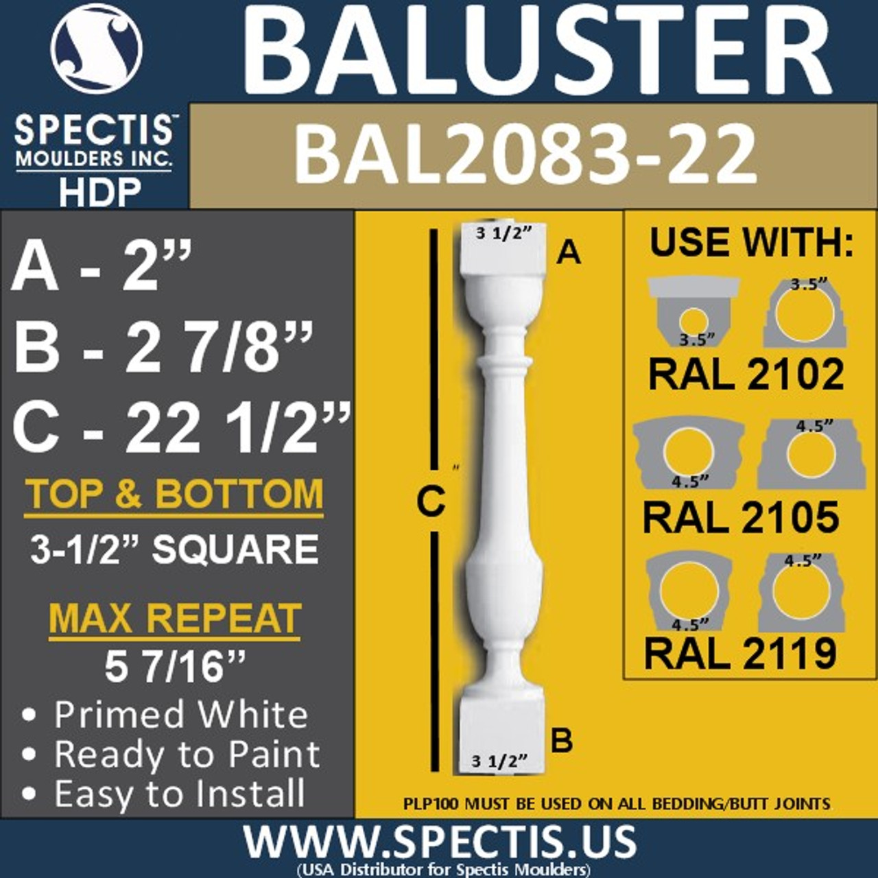 "BAL2083-22 Spectis Urethane Railing Baluster 3 1/2"" x 22 1/2"""