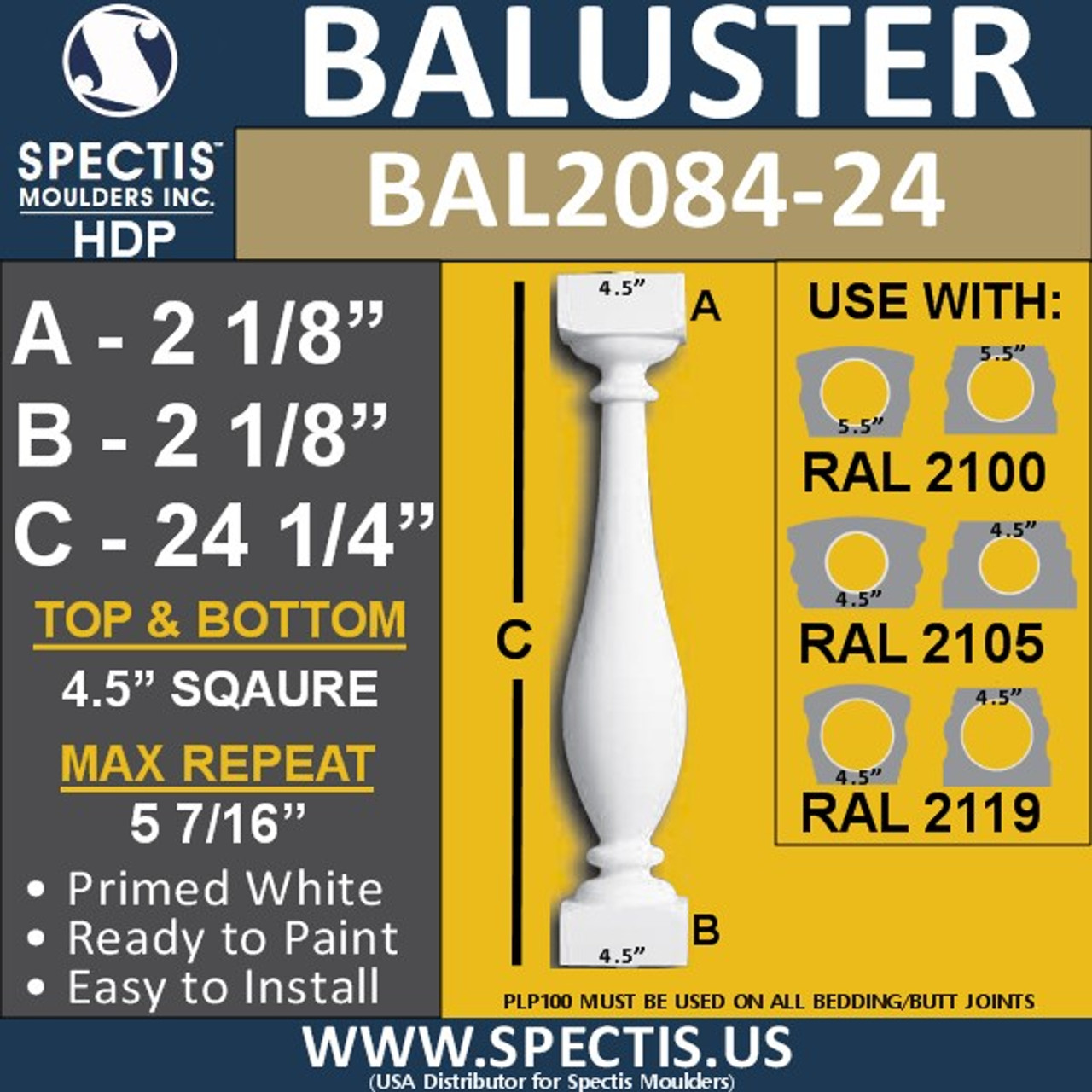 "BAL2084-24 Spectis Urethane Railing Baluster 4 1/2"" x 24 1/4"""