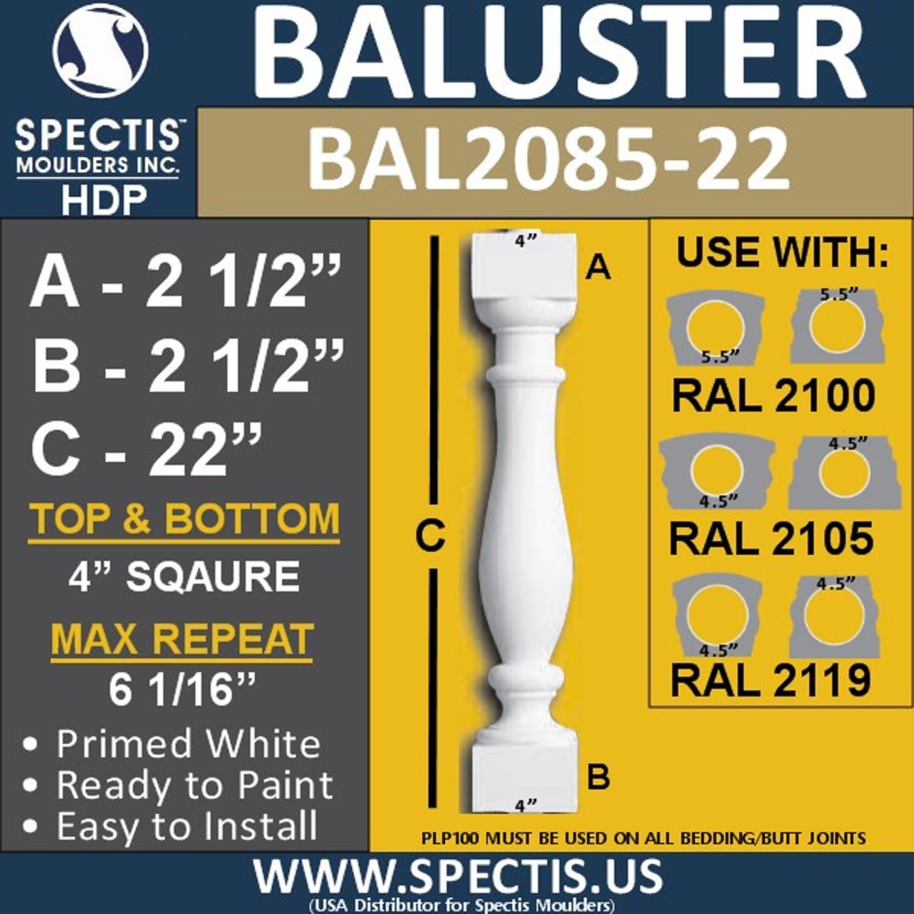 "BAL2085-22 Spectis Urethane Railing Baluster 4"" x 22"""