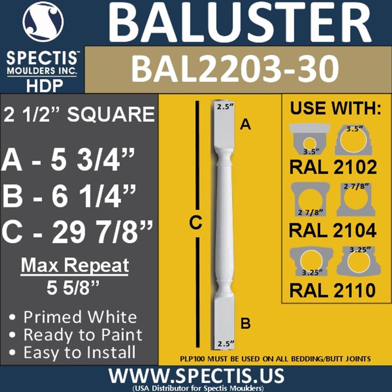 "BAL2203-30 Traditional Urethane Baluster 2 1/2"" x 29 7/8"""