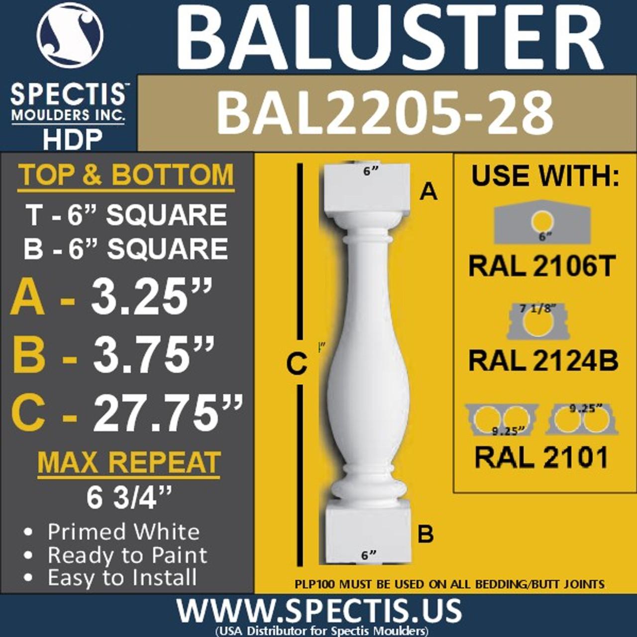 "BAL2205-28 Spectis Urethane Railing Baluster 6"" x 27 3/4"""