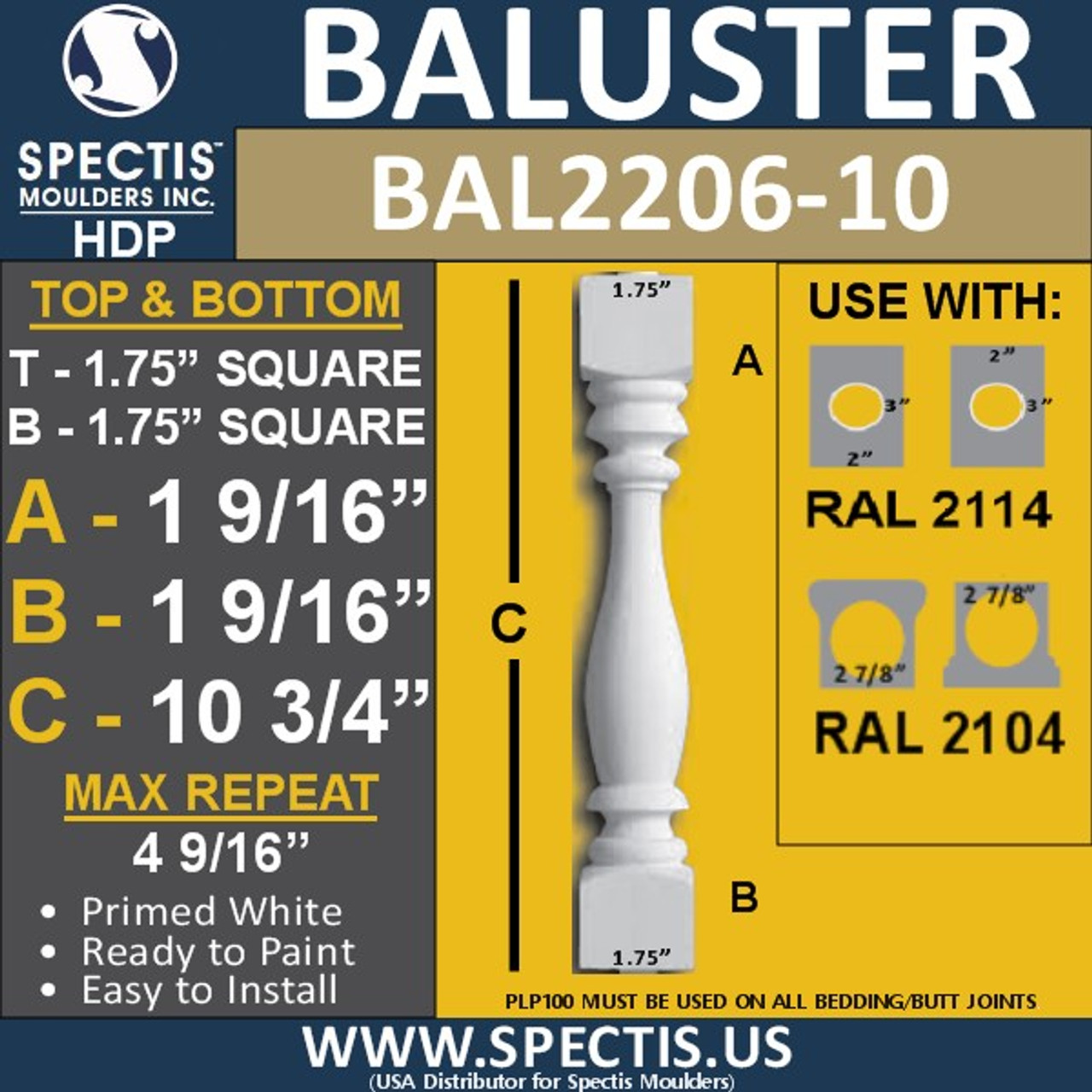 "BAL2206-10 Spectis Urethane Railing Baluster 1 3/4"" x 10 3/4"""