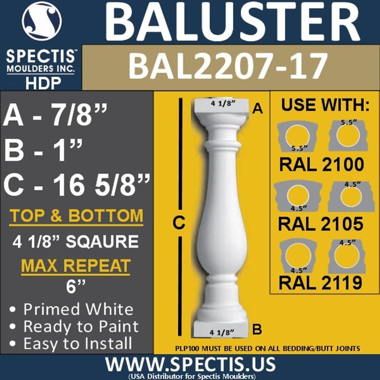 "BAL2207-17 Spectis Urethane Railing Baluster 4 1/8"" x 16 5/8"""
