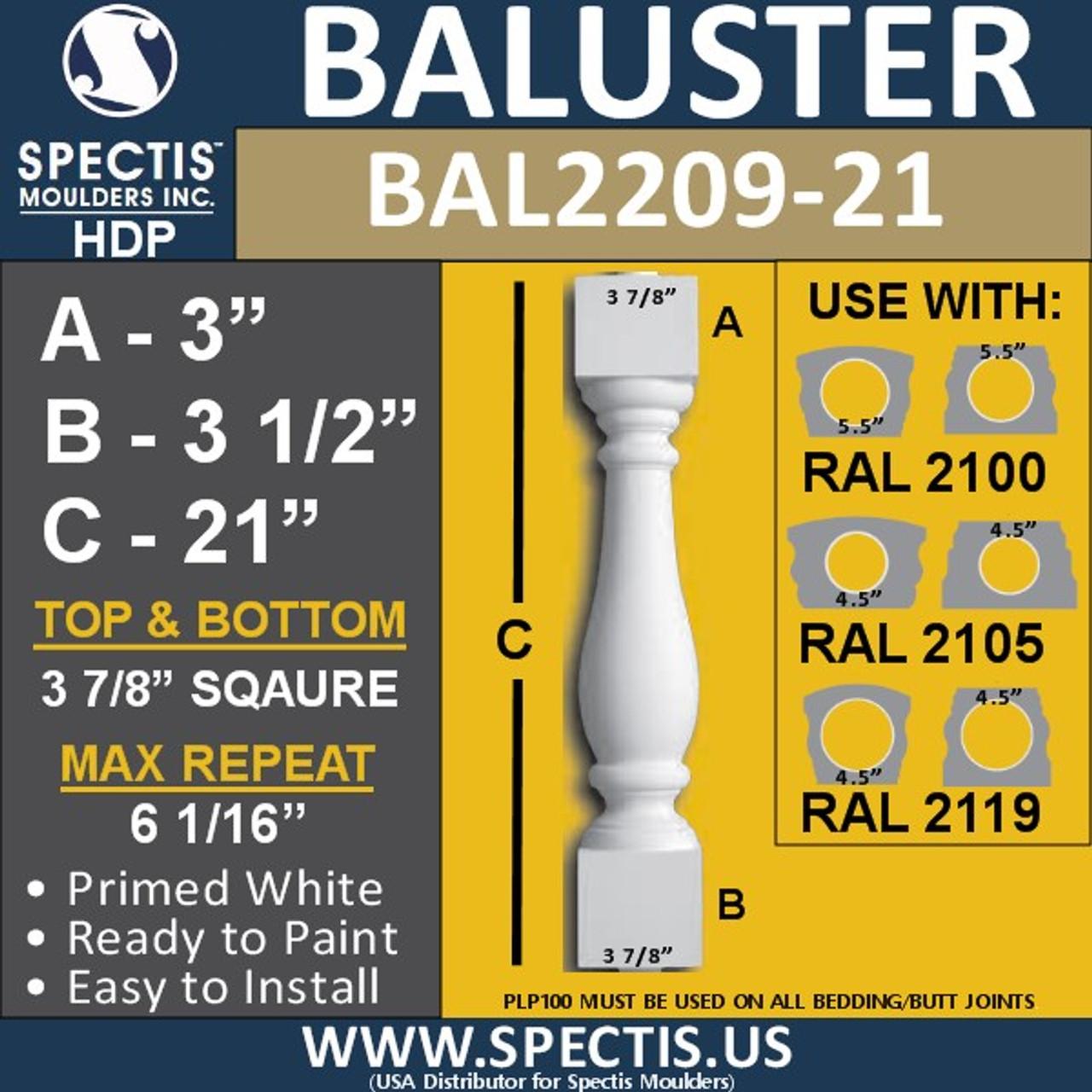 "BAL2209-21 Spectis Urethane Railing Baluster 3 7/8"" x 21"""