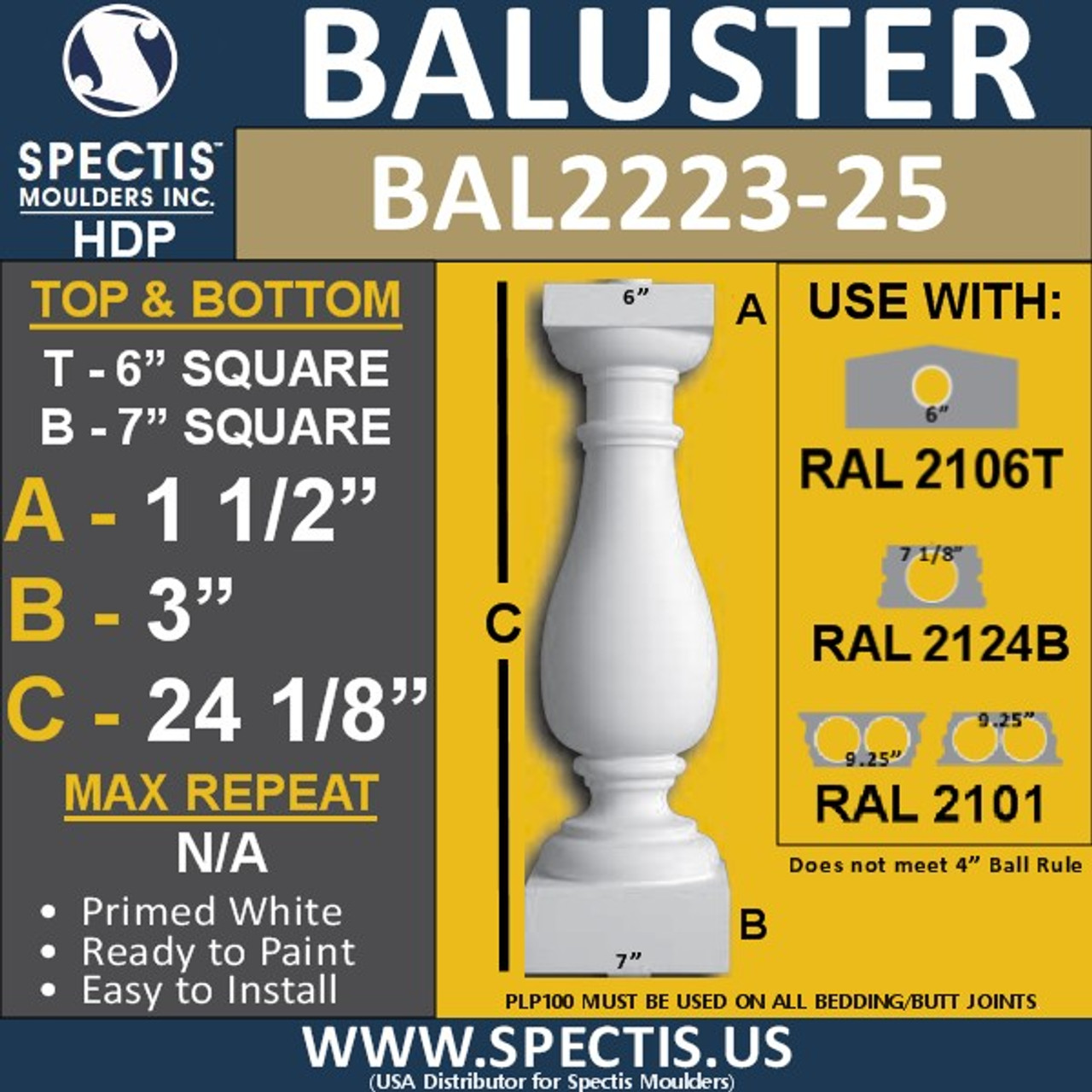 "BAL2223-25 Spectis Urethane Railing Baluster 6"" x 24 1/8"""