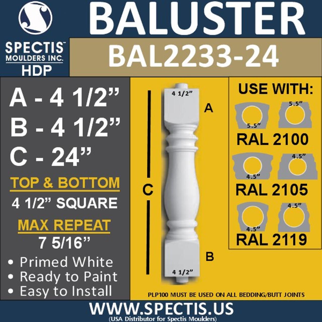 "BAL2233-24 Spectis Urethane Railing Baluster 4 1/2"" x 24"""
