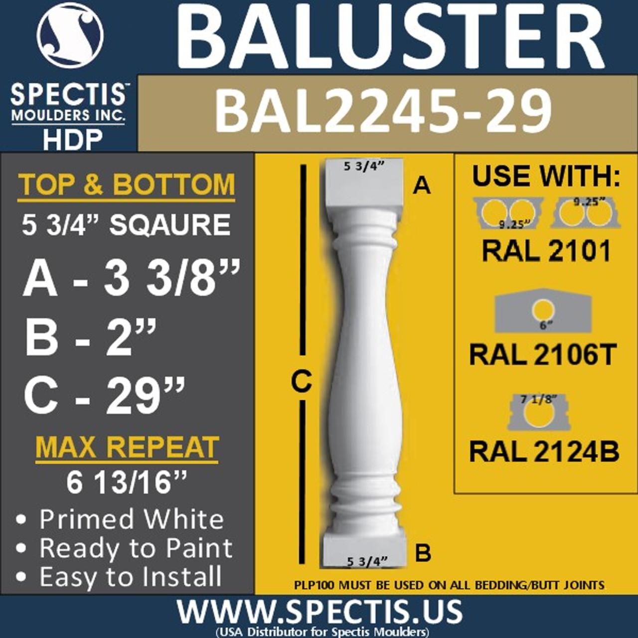 "BAL2245-29 Spectis Urethane Railing Baluster 5 3/4"" x 29"""