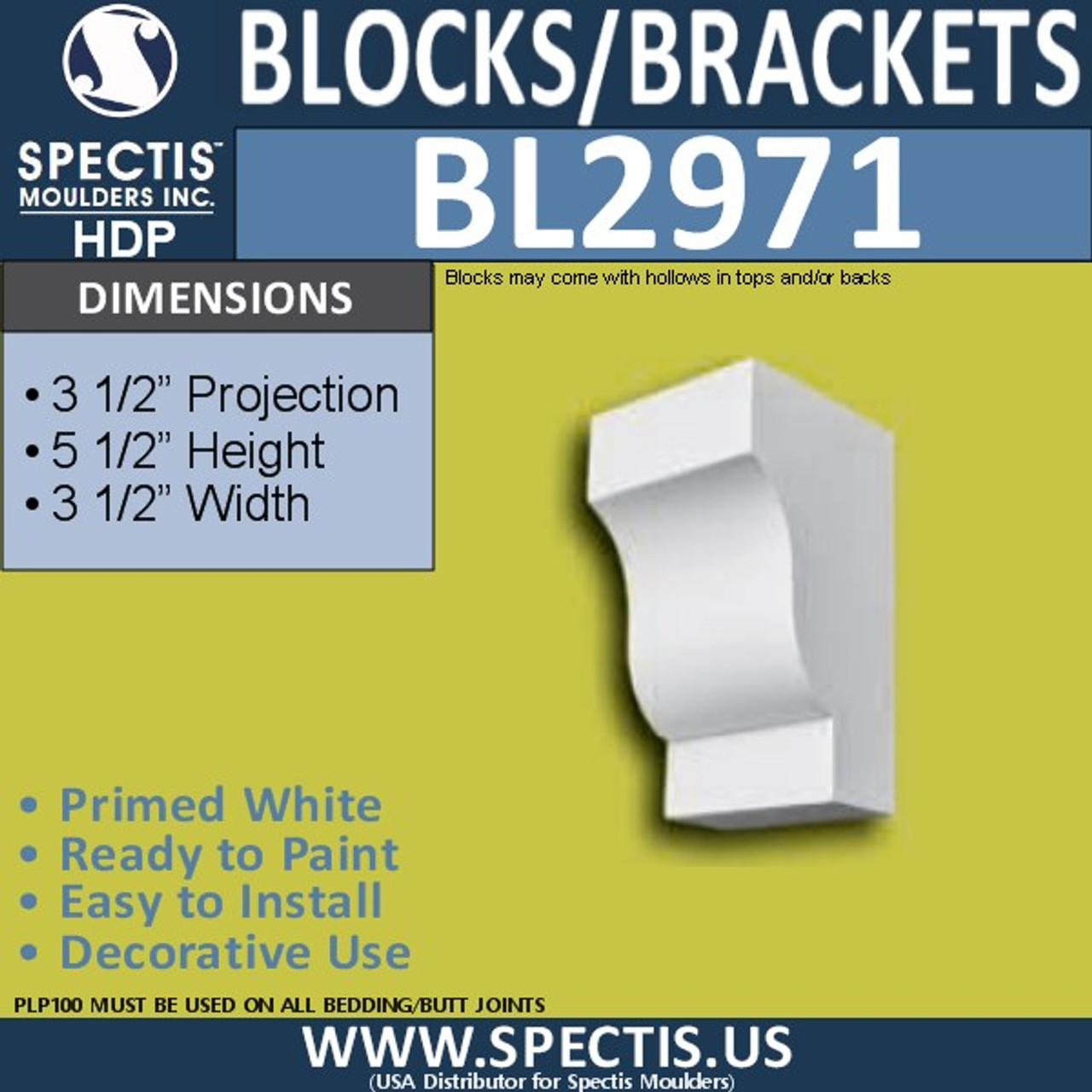 "BL2971 Eave Block or Bracket 4""W x 3.5""H x 7"" P"