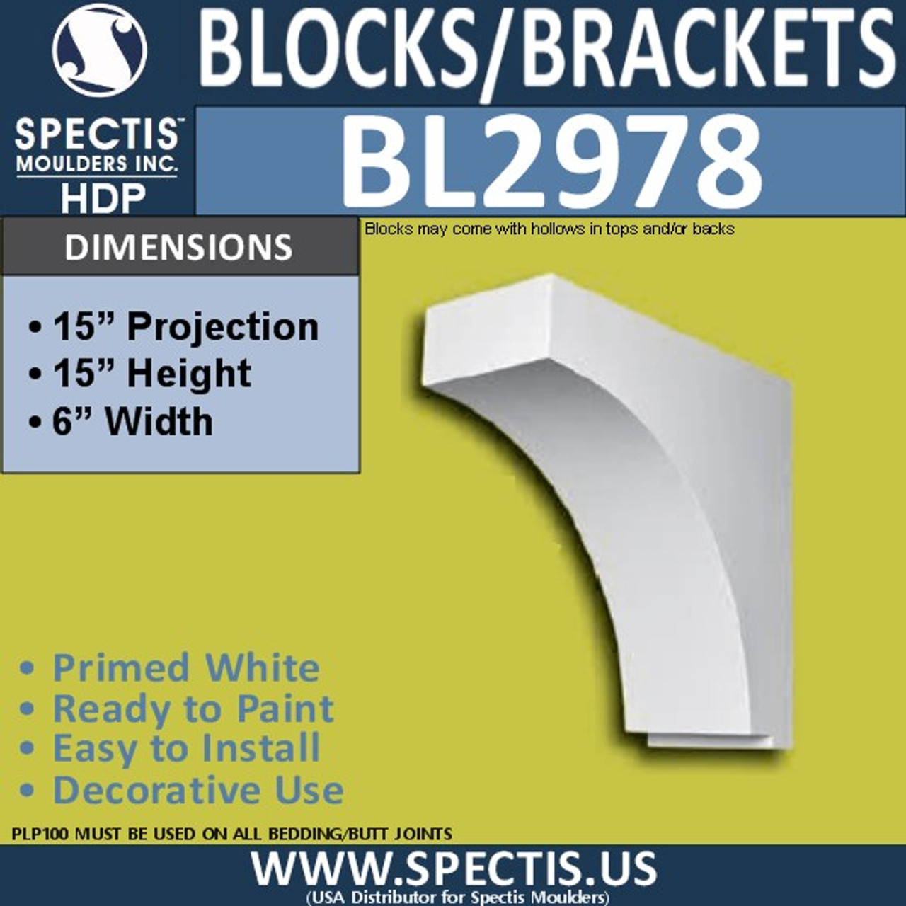 "BL2978 Eave Block or Bracket 6""W x 15""H x 15"" P"