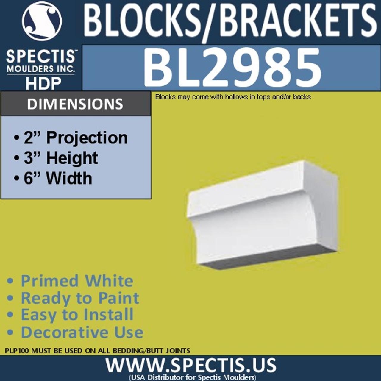 "BL2985 Eave Block or Bracket 6""W x 3""H x 2"" P"