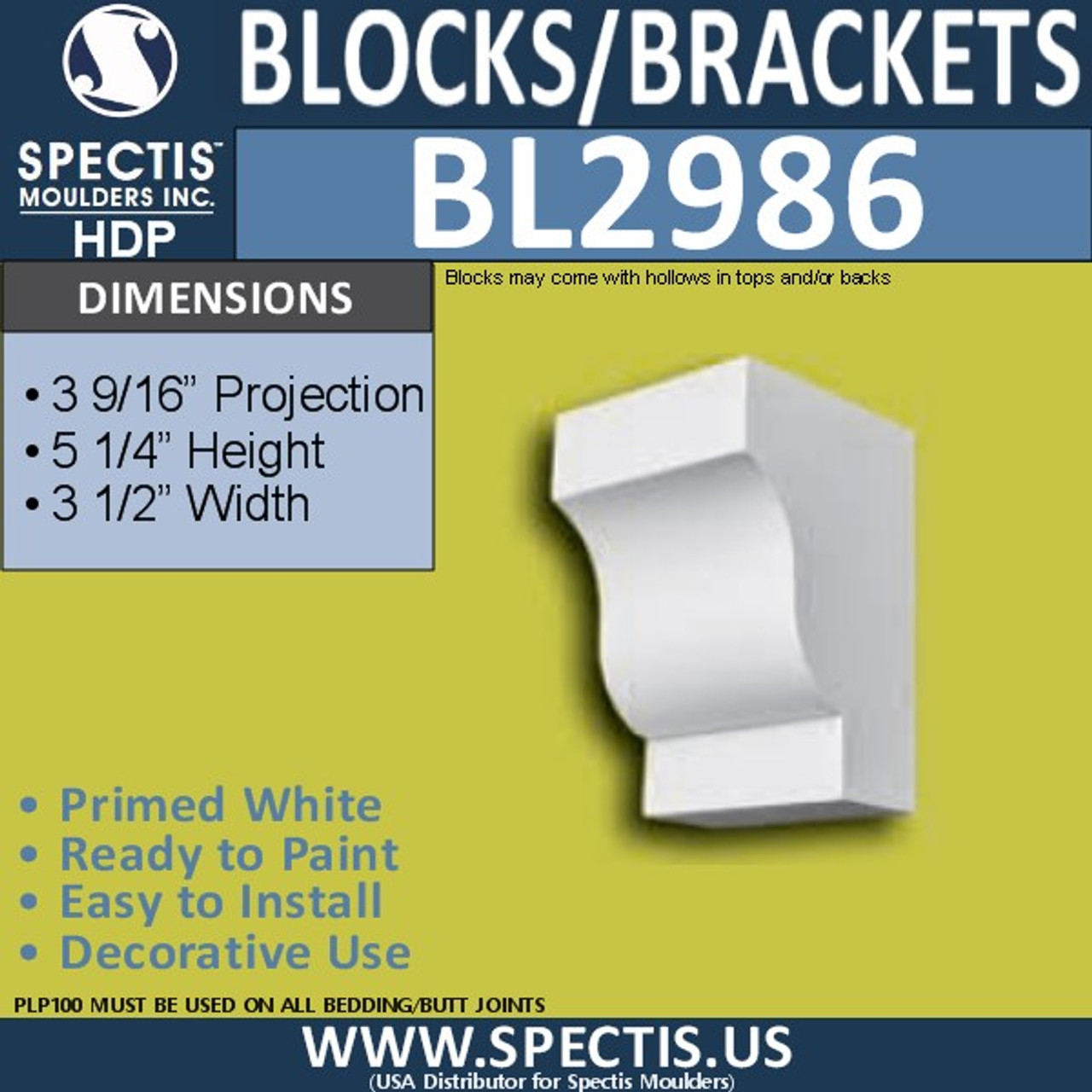 "BL2986 Eave Block or Bracket 3.5""W x 5.25""H x 3.56"" P"