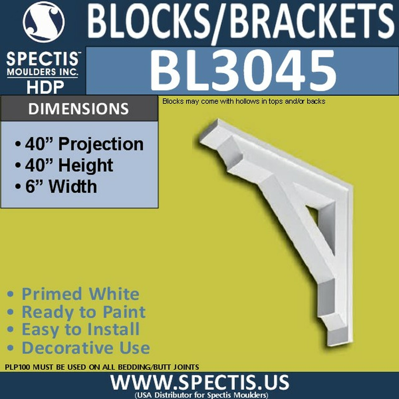 "BL3045 Eave Block or Bracket 6""W x 40""H x 40"" P"