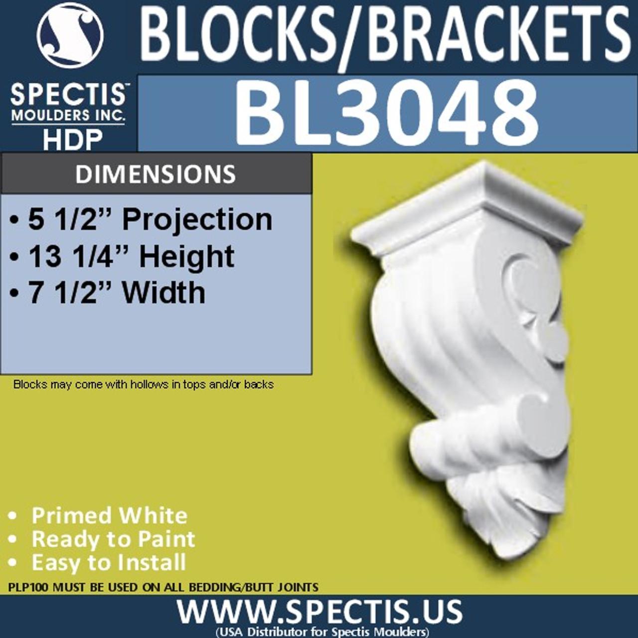 "BL3048 Eave Block or Bracket 7.5""W x 13.25""H x 5.5"" P"