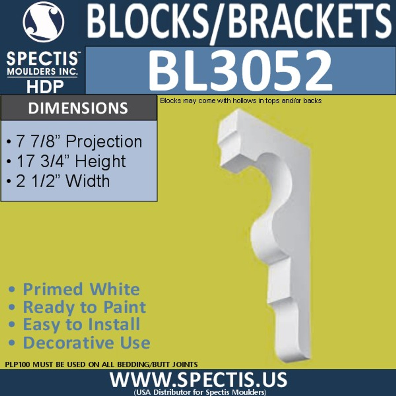 "BL3052 Eave Block or Bracket 2.5""W x 17.75""H x 7.88"" P"