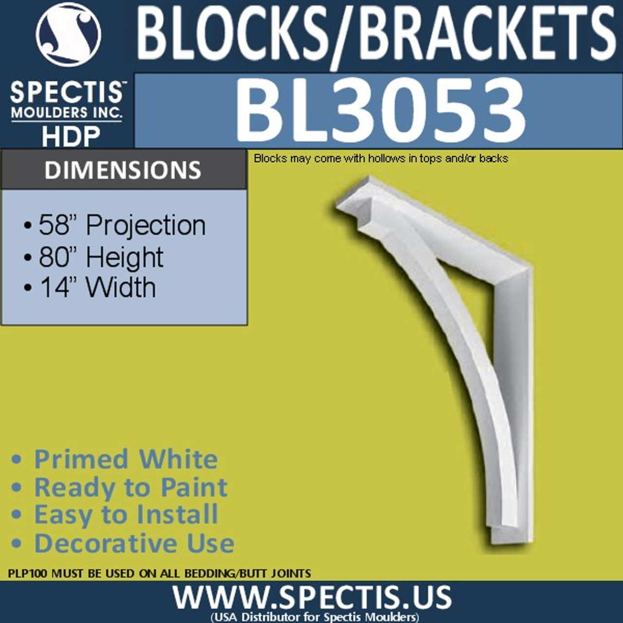 "BL3053 Eave Block or Bracket 14""W x 80""H x 58"" P"