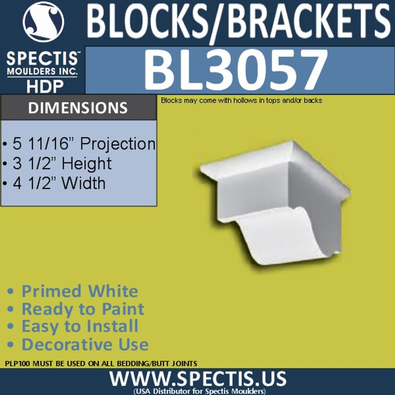 "BL3057 Eave Block or Bracket 4.5""W x 6""H x 3"" P"