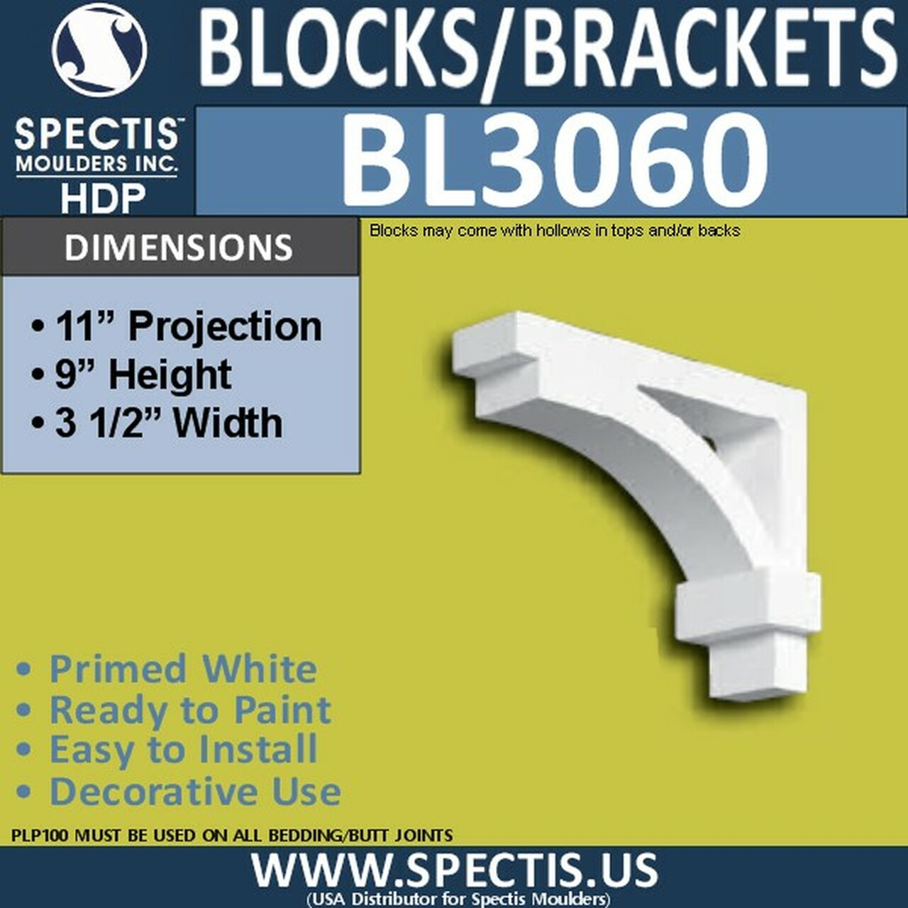 "BL3060 Eave Block or Bracket 3.5""W x 11""H x 9"" P"