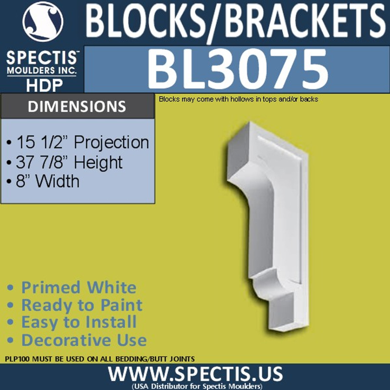 "BL3075 Eave Block or Bracket 8""W x 37.88""H x 15.5"" P"