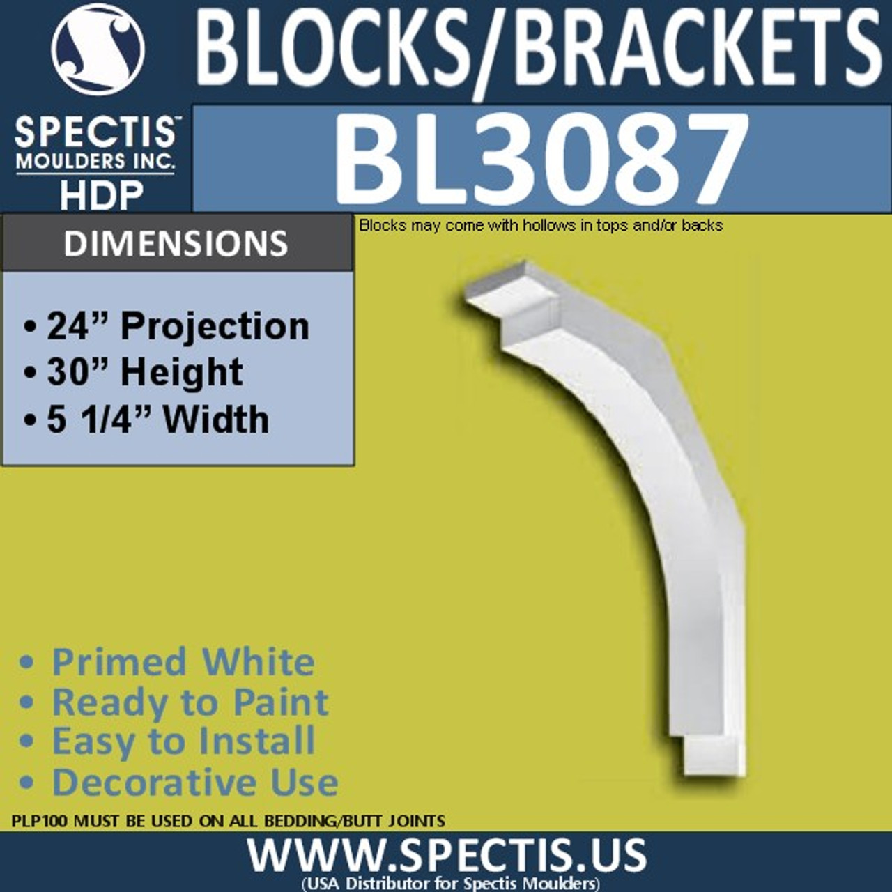 "BL3087 Eave Block or Bracket 5.25""W x 32""H x 24"" P"