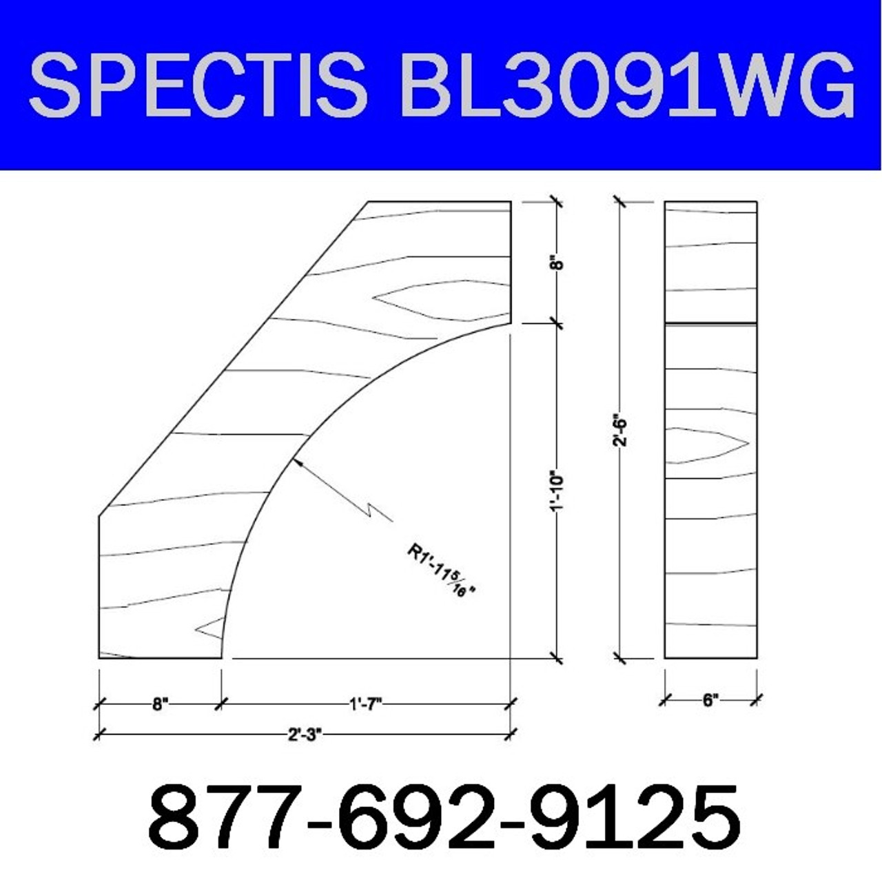 """BL3091WG Spectis Eave Block or Bracket 6""""W x 32""""H x 27"""" Projection"""