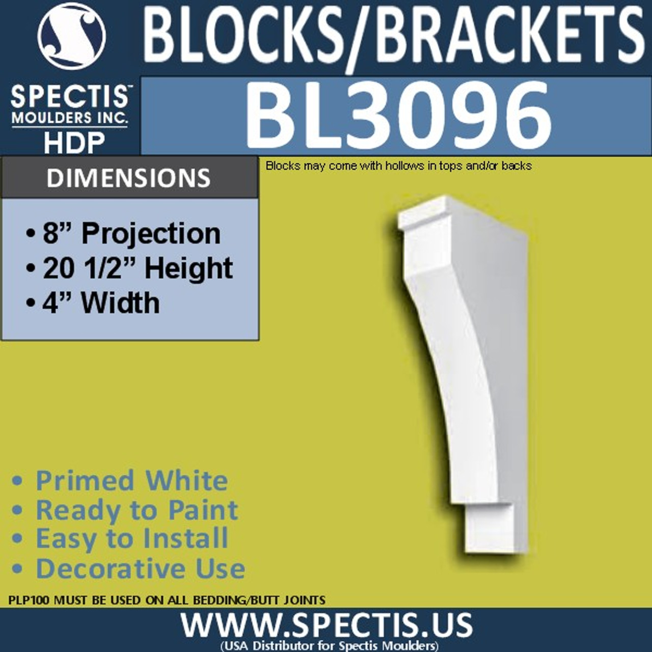 "BL3096 Eave Block or Bracket 4""W x 20.5""H x 8"" P"