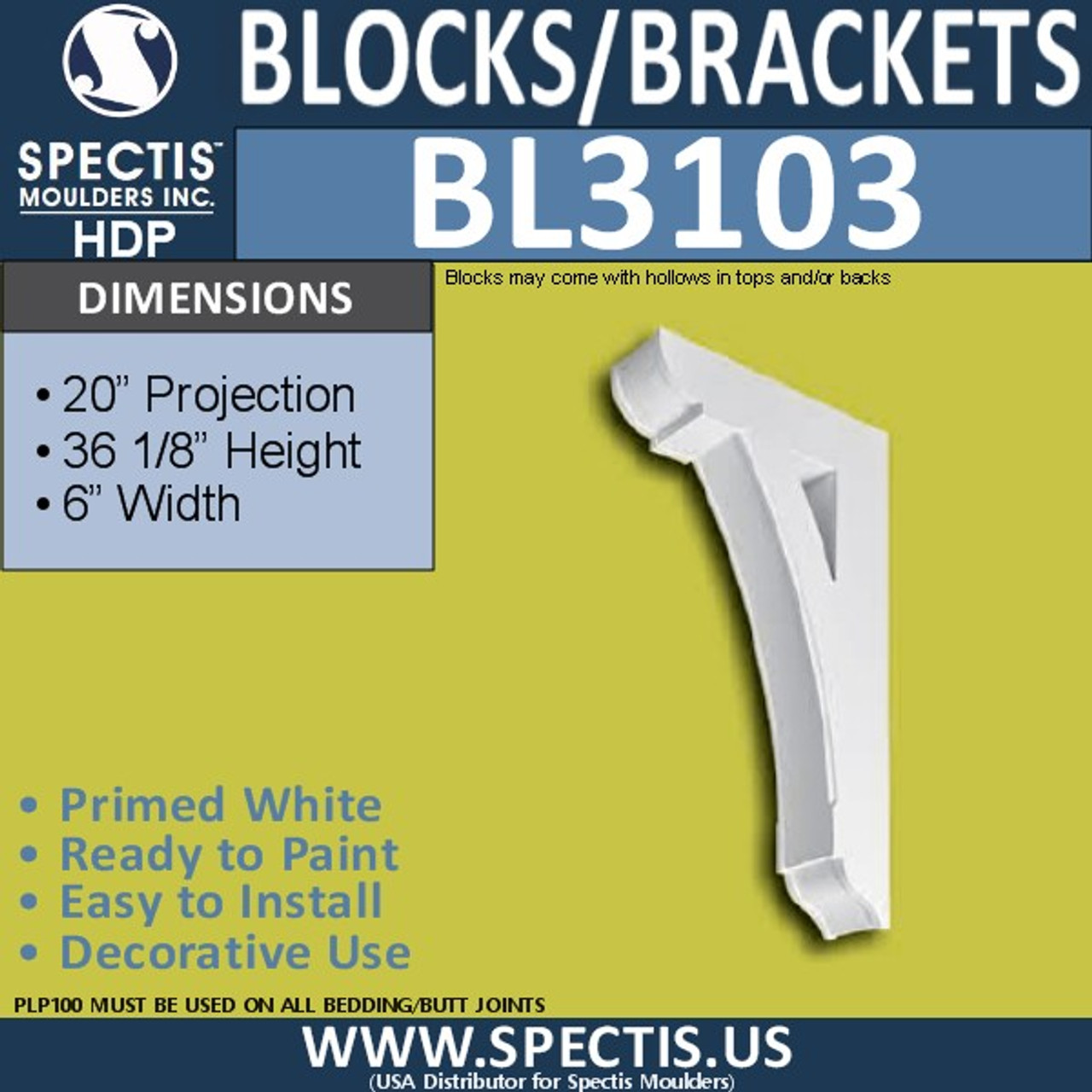 "BL3103 Eave Block or Bracket 6""W x 36""H x 20"" P"