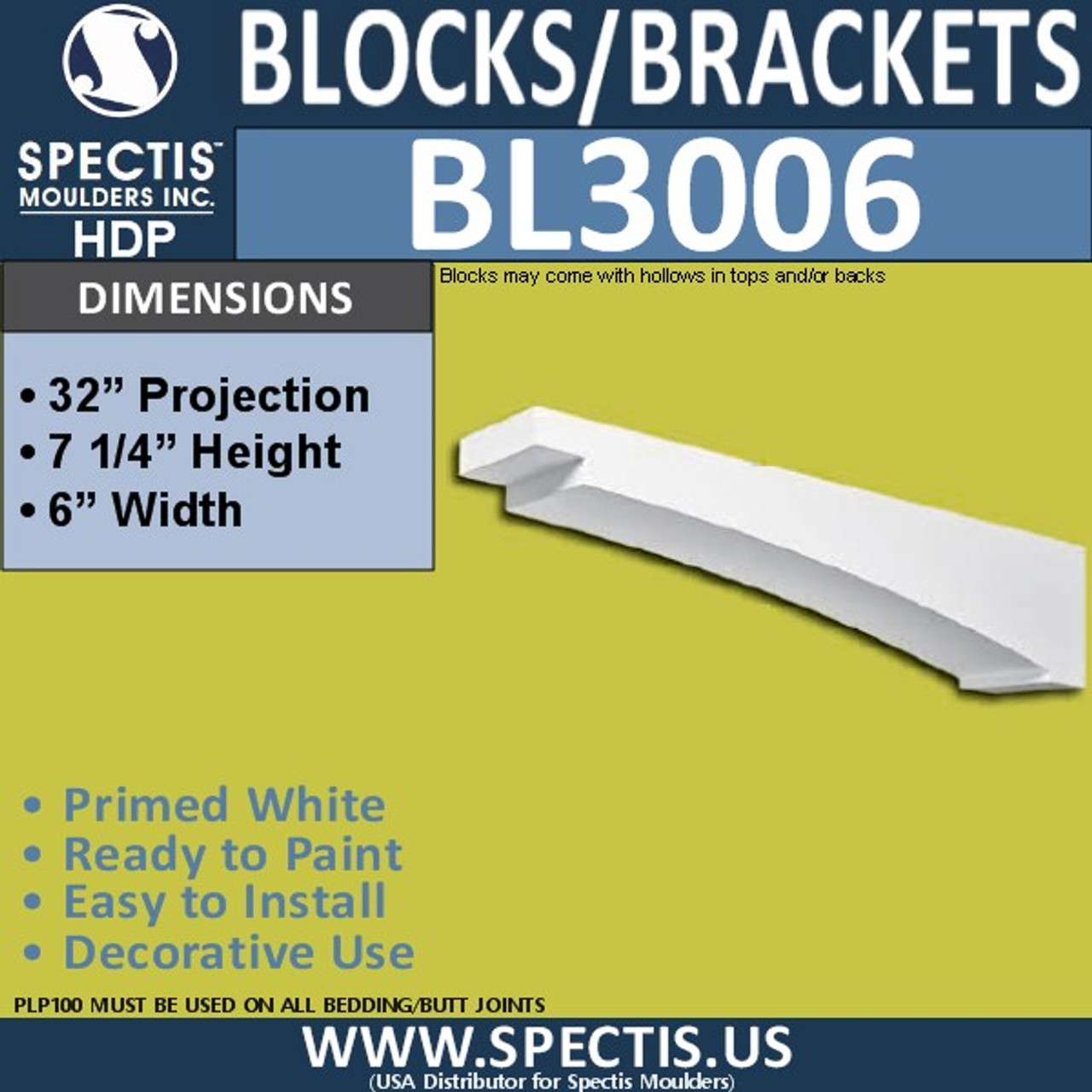 "BL3006 Eave Block or Bracket 6""W x 32""H x 7.25"" P"