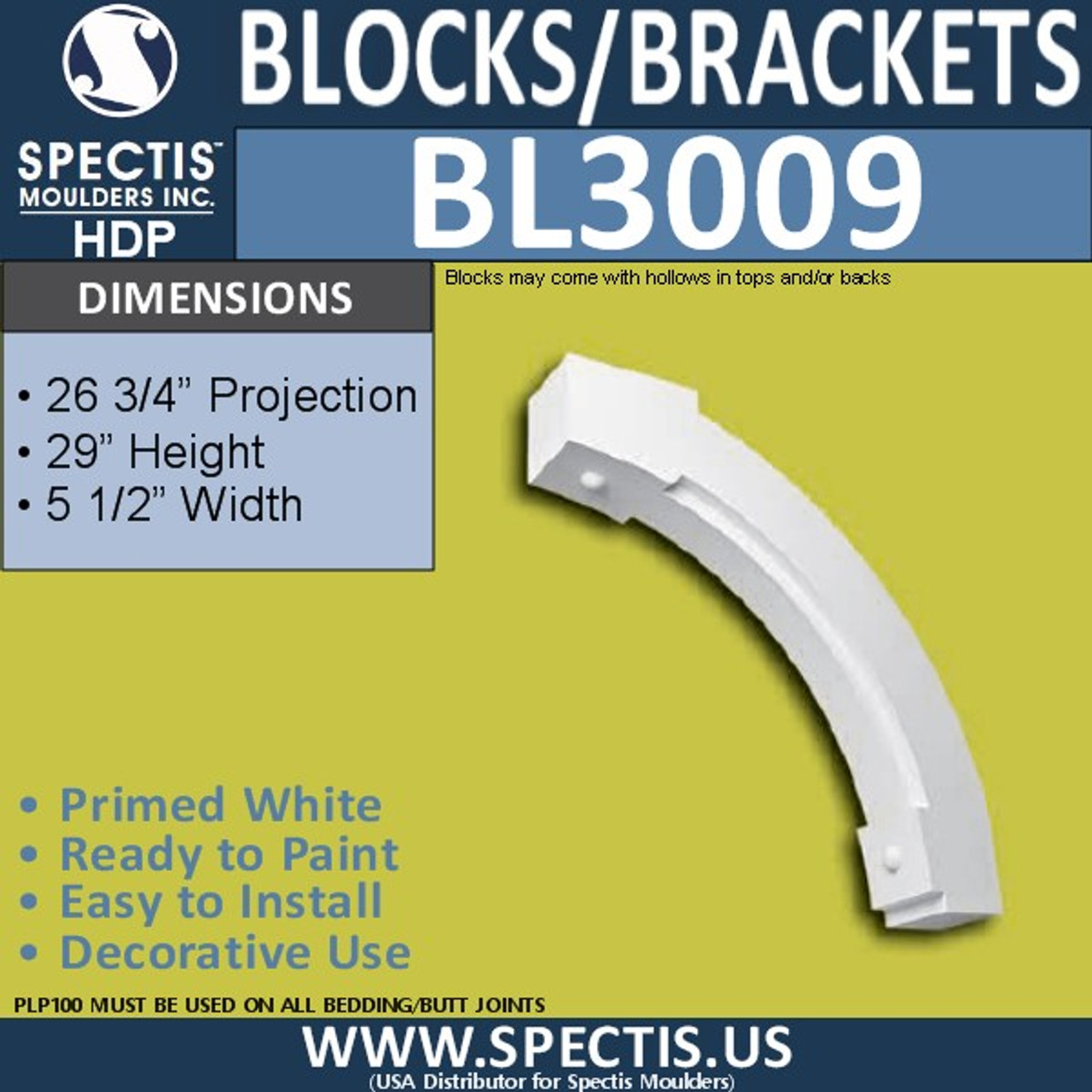 "BL3009 Eave Block or Bracket 5.5""W x 29""H x 26.75"" P"