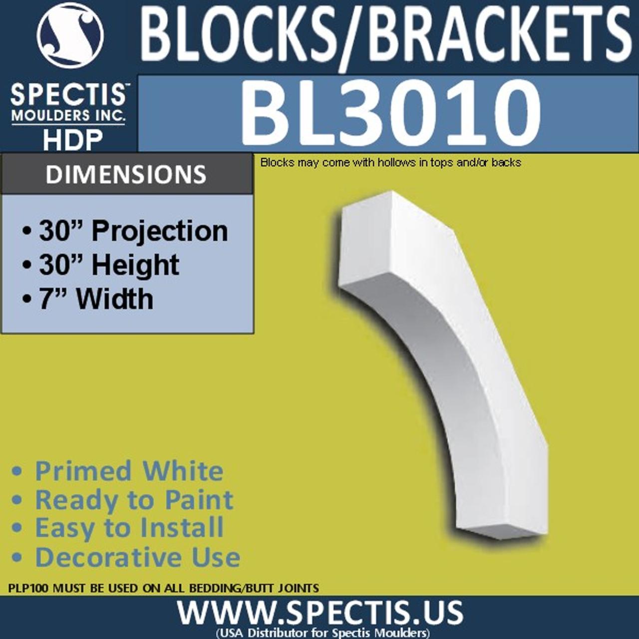 "BL3010 Eave Block or Bracket 7""W x 30""H x 30"" P"